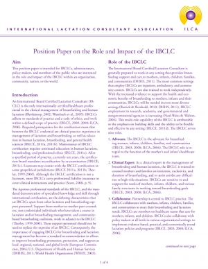 Role and Impact of the IBCLC (PDF)